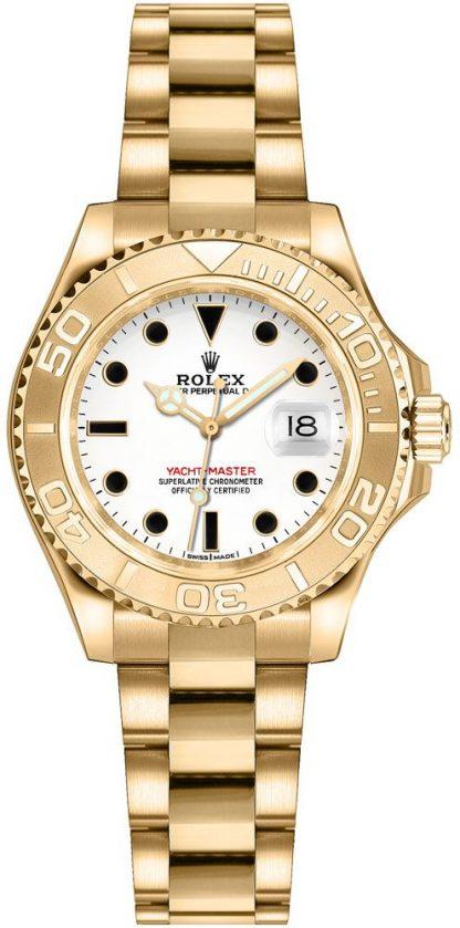 repliche Orologio Rolex Yacht-Master 29 quadrante bianco oro giallo 169628