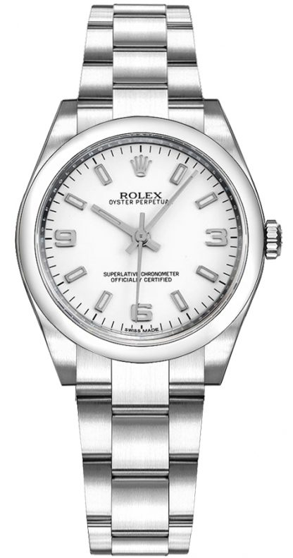 repliche Orologio automatico Rolex Oyster Perpetual 31 quadrante bianco 177200