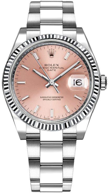 repliche Orologio automatico Rolex Oyster Perpetual Date 34 quadrante rosa 115234