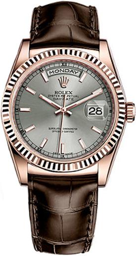 repliche Orologio con cinturino in pelle Rolex Day-Date 36 in oro rosa 118135
