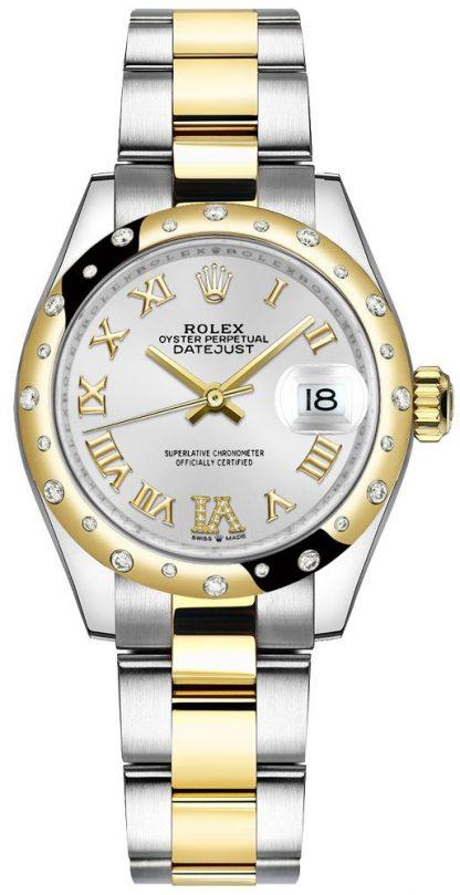 repliche Orologio da donna Rolex Datejust 31 con bracciale Oyster in diamanti d'argento 278343RBR