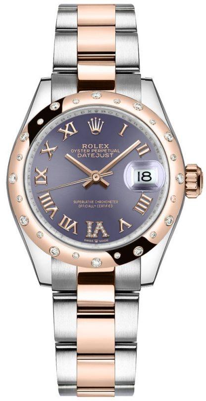 repliche Orologio da donna Rolex Datejust 31 con quadrante di melanzane numeri romani 278341RBR