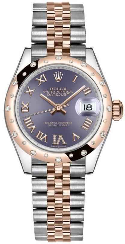 repliche Orologio da donna Rolex Datejust 31 di lusso in acciaio e oro rosa 278341RBR