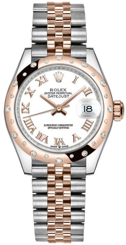 repliche Orologio da donna Rolex Datejust 31 quadrante bianco numeri romani 278341RBR