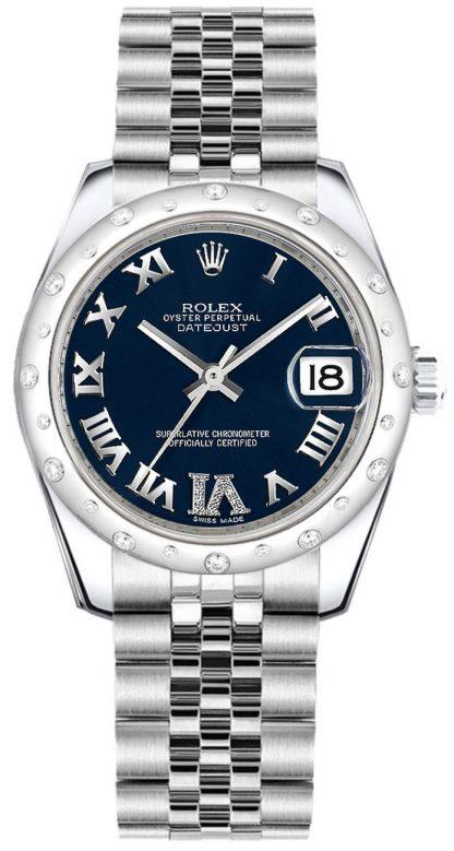 repliche Orologio da donna Rolex Datejust 31 quadrante blu con diamanti 178344