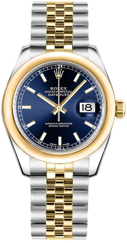repliche Orologio da donna Rolex Datejust 31 quadrante blu oro e acciaio 178243