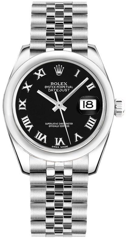 repliche Orologio da donna Rolex Datejust 31 quadrante nero in acciaio inossidabile 178240