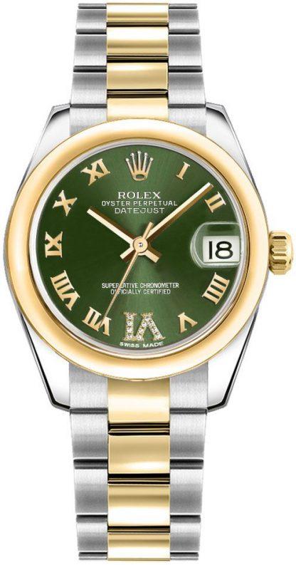 repliche Orologio da donna Rolex Datejust 31 quadrante verde Oyster Bracelet 178243