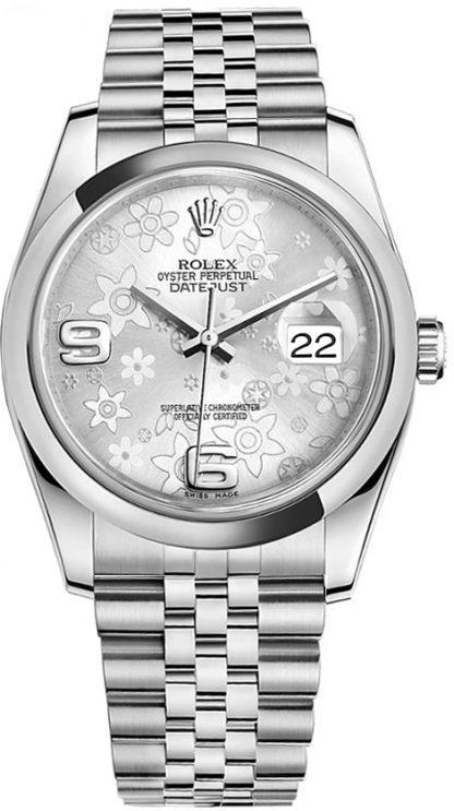 repliche Orologio da donna Rolex Datejust 36 floreale argento 116200