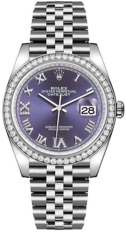 repliche Orologio da donna Rolex Datejust 36 numeri romani viola 126284RBR