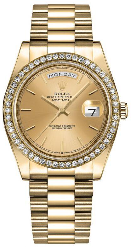 repliche Orologio da donna Rolex Day-Date 36 Champagne Index Dial 128348RBR