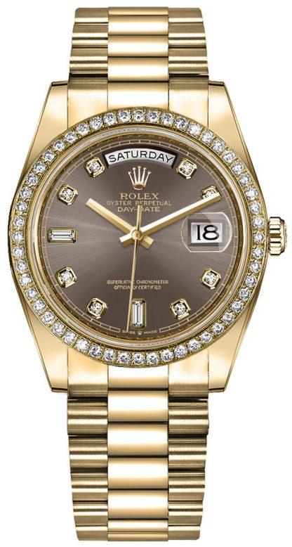 repliche Orologio da donna Rolex Day-Date 36 Diamond Hour Markers 128348RBR