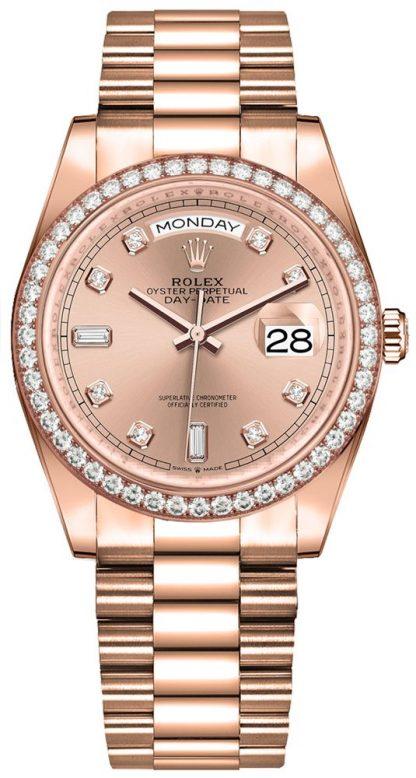 repliche Orologio da donna Rolex Day-Date 36 con castone di diamanti 128345RBR