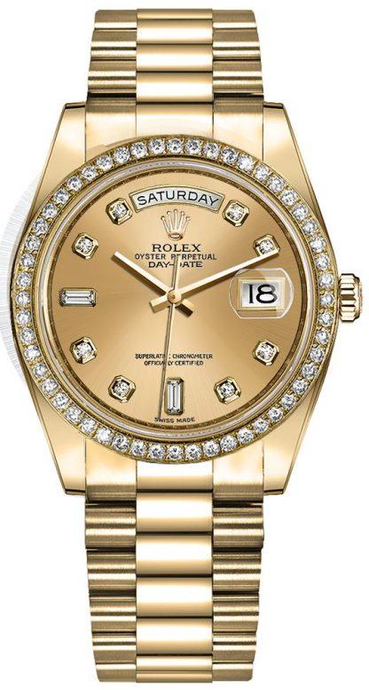 repliche Orologio da donna Rolex Day-Date 36 con quadrante champagne diamante 128348RBR