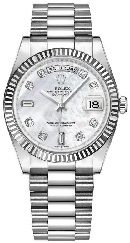 repliche Orologio da donna Rolex Day-Date 36 madreperla in oro bianco 128239