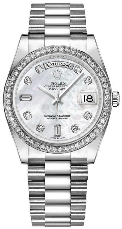 repliche Orologio da donna Rolex Day-Date 36 oro bianco 18 carati 128349RBR