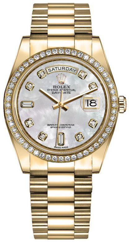 repliche Orologio da donna Rolex Day-Date 36 oro giallo 18 carati con diamanti 128348RBR