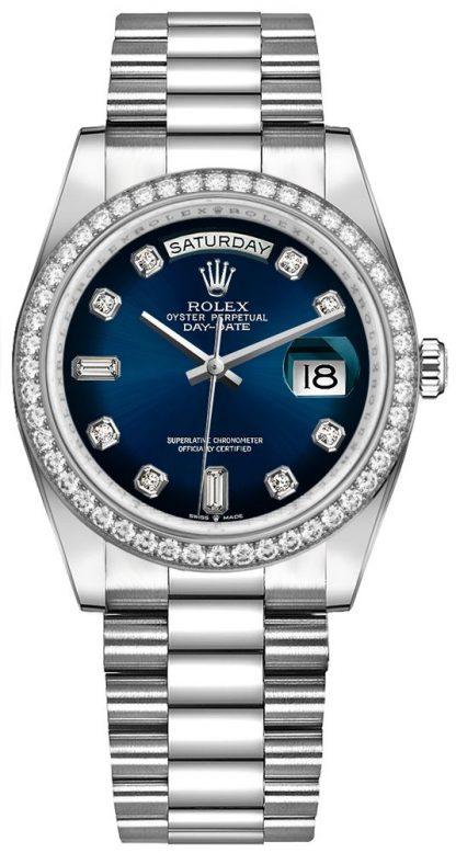 repliche Orologio da donna Rolex Day-Date 36 quadrante blu con diamanti Diamond Bezel 128349RBR
