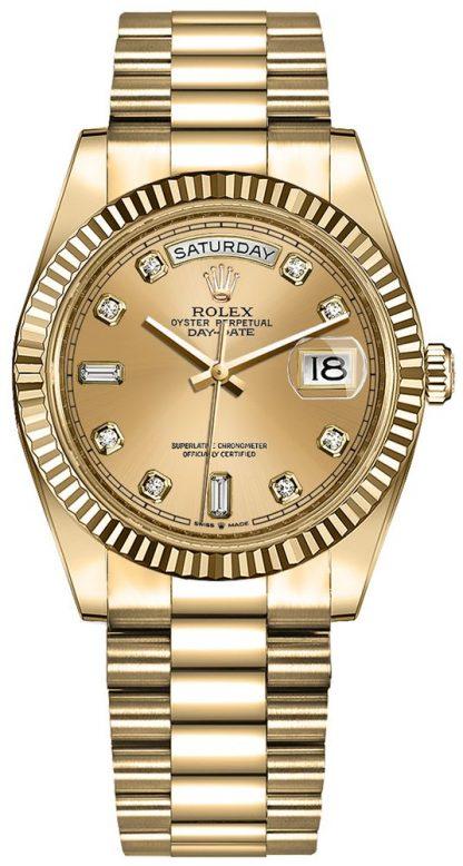 repliche Orologio da donna Rolex Day-Date 36 quadrante champagne diamante 128238
