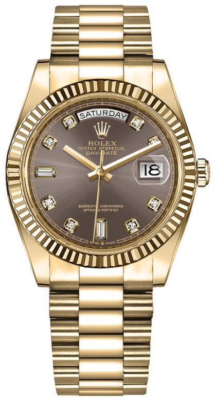 repliche Orologio da donna Rolex Day-Date 36 quadrante grigio scuro 128238