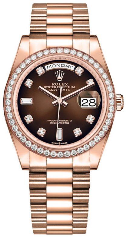 repliche Orologio da donna Rolex Day-Date 36 quadrante marrone Ombre 128345RBR