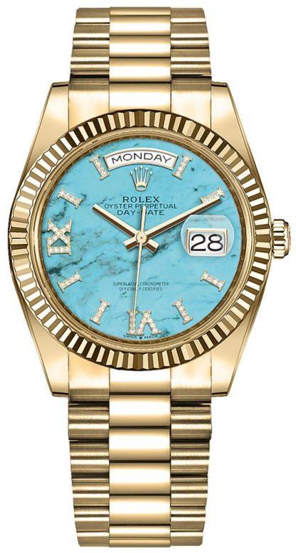 repliche Orologio da donna Rolex Day-Date 36 quadrante turchese 128238