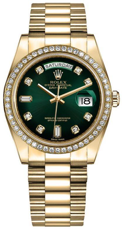 repliche Orologio da donna Rolex Day-Date 36 quadrante verde Ombre 128348RBR