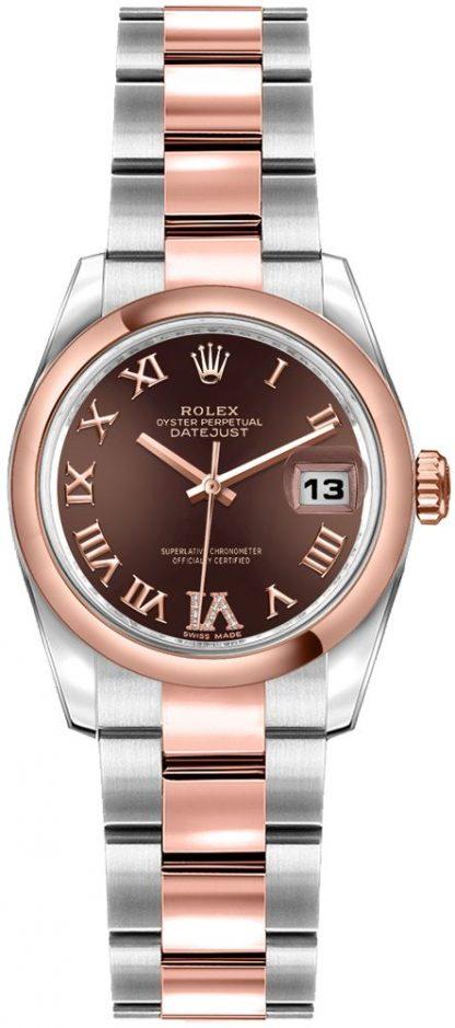 repliche Orologio da donna Rolex Lady-Datejust 26 Everose in oro e acciaio 179161