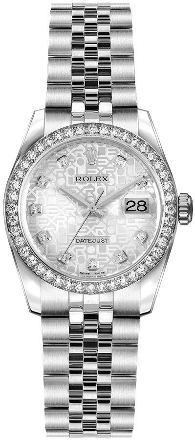 repliche Orologio da donna Rolex Lady-Datejust 26 quadrante argento Jubilee 179384