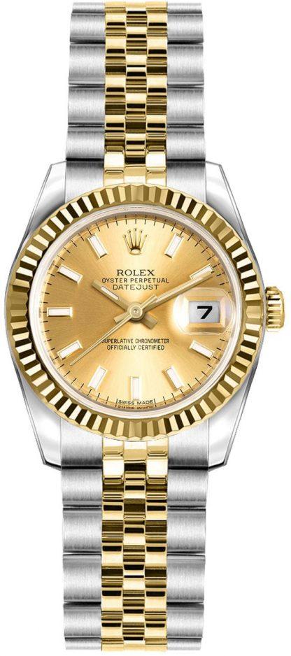 repliche Orologio da donna Rolex Lady-Datejust 26 quadrante champagne Jubilee Bracelet 179173