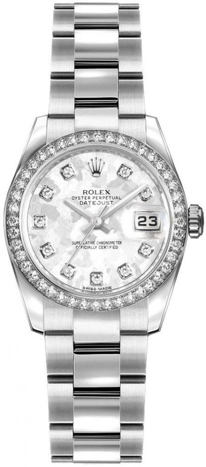 repliche Orologio da donna Rolex Lady-Datejust 26 quadrante in cristallo oro grigio 179384