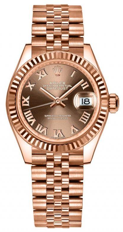 repliche Orologio da donna Rolex Lady-Datejust 28 Chocolate Jubilee Bracelet 279175