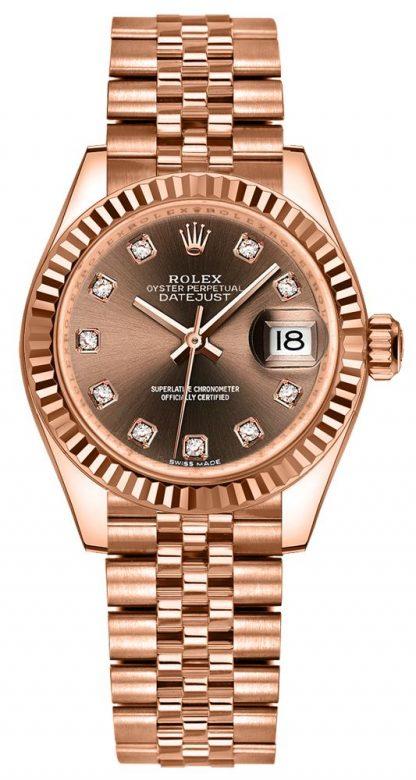 repliche Orologio da donna Rolex Lady-Datejust 28 Diamond Hour Markers 279175