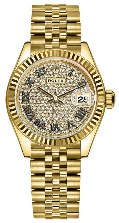 repliche Orologio da donna Rolex Lady-Datejust 28 Diamond Pave Dial 279178
