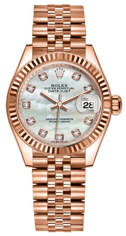 repliche Orologio da donna Rolex Lady-Datejust 28 Diamond Pearl 279175