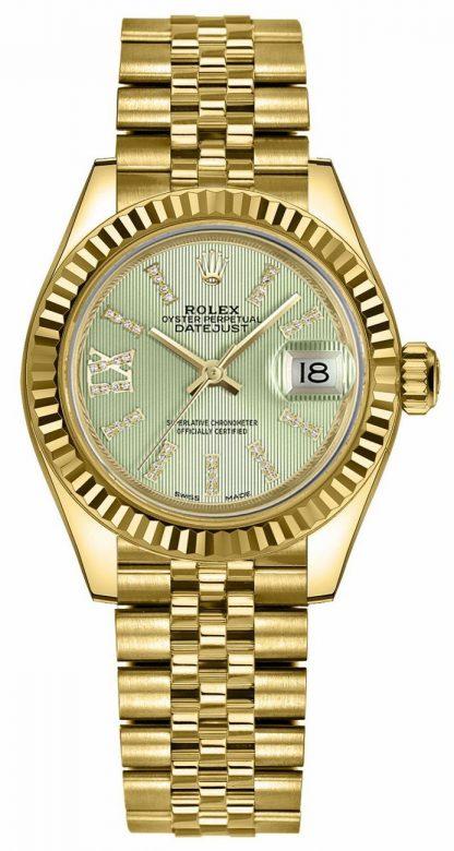 repliche Orologio da donna Rolex Lady-Datejust 28 Linden quadrante verde 279178