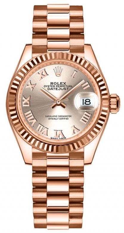 repliche Orologio da donna Rolex Lady-Datejust 28 con lunetta scanalata 279175