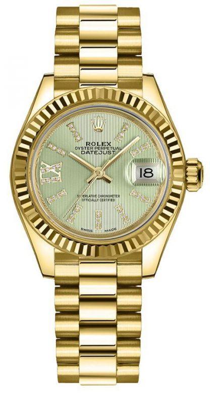 repliche Orologio da donna Rolex Lady-Datejust 28 con lunetta scanalata in oro giallo 279178