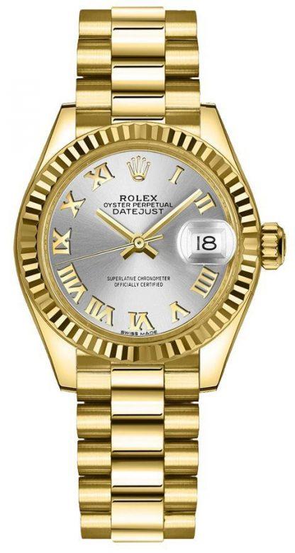 repliche Orologio da donna Rolex Lady-Datejust 28 con quadrante scanalato e lunetta 279178