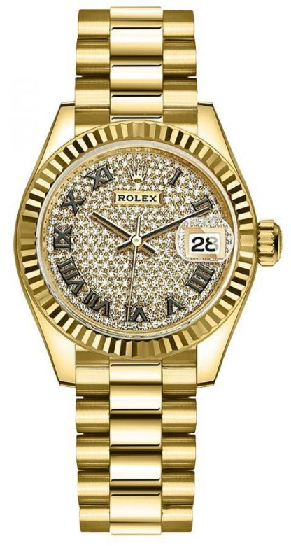 repliche Orologio da donna Rolex Lady-Datejust 28 diamanti in oro giallo 279178