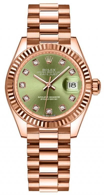 repliche Orologio da donna Rolex Lady-Datejust 28 diamanti verde oliva 279175