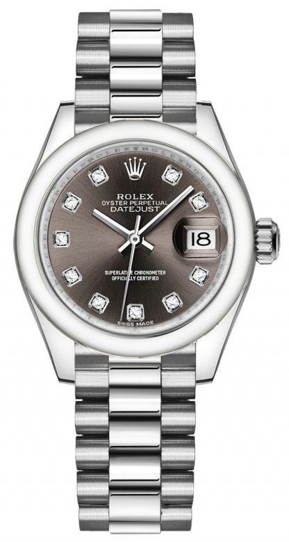repliche Orologio da donna Rolex Lady-Datejust 28 in platino con cinturino e bracciale 279166