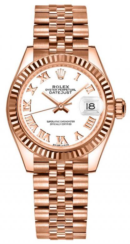 repliche Orologio da donna Rolex Lady-Datejust 28 numeri romani bianchi 279175