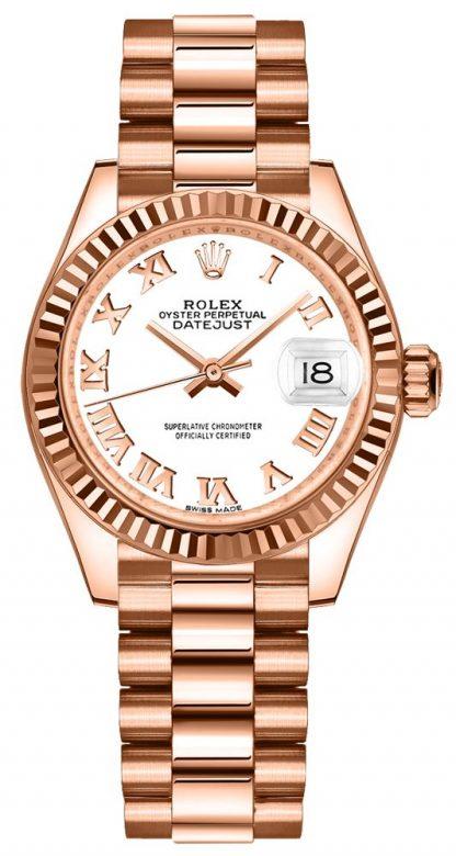 repliche Orologio da donna Rolex Lady-Datejust 28 quadrante bianco oro rosa 279175