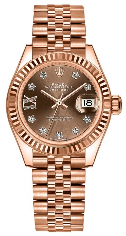repliche Orologio da donna Rolex Lady-Datejust 28 quadrante cioccolato Diamond IX 279175