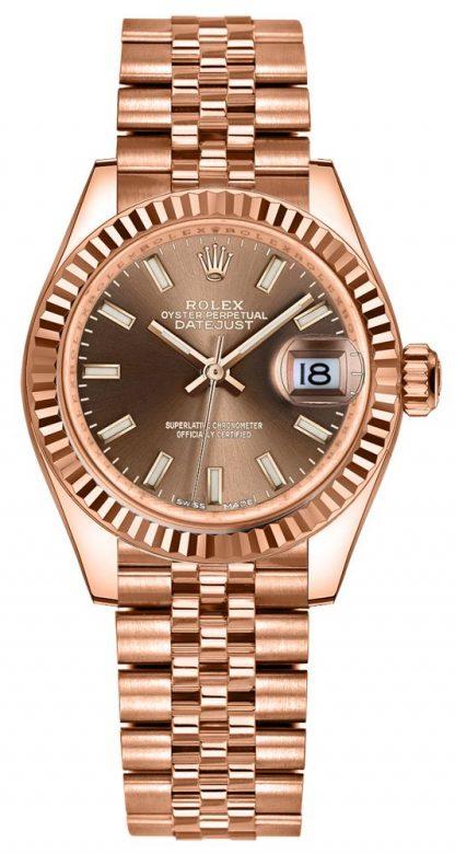 repliche Orologio da donna Rolex Lady-Datejust 28 quadrante color cioccolato oro rosa 279175