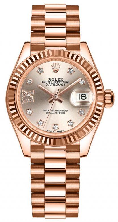 repliche Orologio da donna Rolex Lady-Datejust 28 quadrante con diamanti Sundust 279175