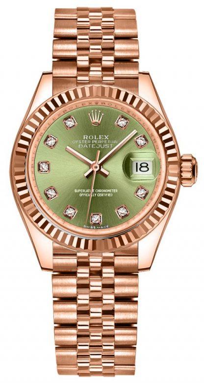 repliche Orologio da donna Rolex Lady-Datejust 28 quadrante verde lunetta scanalata 279175
