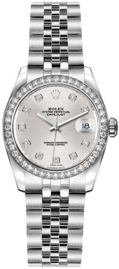 repliche Orologio da donna Rolex Lady-Datejust con quadrante in argento 26 diamanti 179384