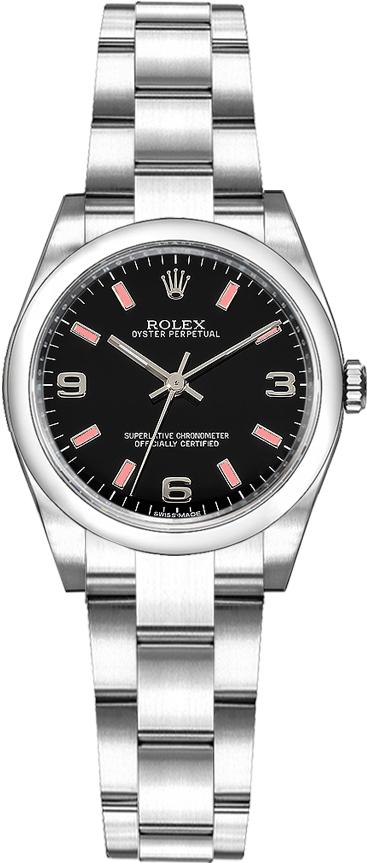 repliche Orologio da donna Rolex Oyster Perpetual 26 quadrante nero 176200